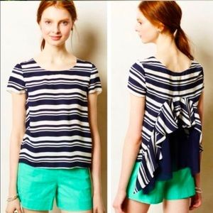 Anthro Maeve Navy Striped Ruffle Back Blouse Top